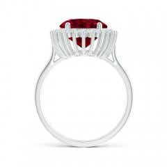 Toggle Classic Oval Garnet Floral Halo Ring