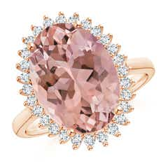 Classic Oval Morganite Floral Halo Ring