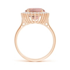 Toggle Classic Oval Morganite Floral Halo Ring