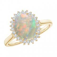 Classic Oval Opal Floral Halo Ring