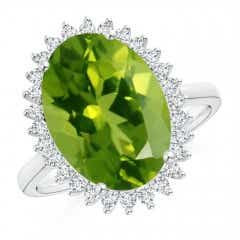 Classic Oval Peridot Floral Halo Ring