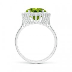 Toggle Classic Oval Peridot Floral Halo Ring