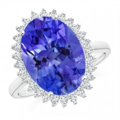 Classic Oval Tanzanite Floral Halo Ring