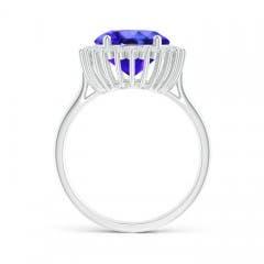 Toggle Classic Oval Tanzanite Floral Halo Ring