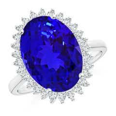 Classic GIA Certified Oval Tanzanite Floral Halo Ring