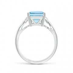 Toggle Twist Shank Emerald Cut Aquamarine Statement Ring