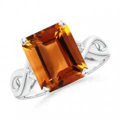 Twist Shank Emerald Cut Citrine Statement Ring