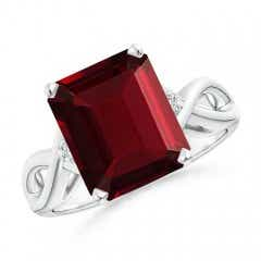 Twist Shank Emerald Cut Garnet Statement Ring