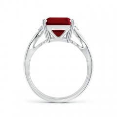 Toggle Twist Shank Emerald Cut Garnet Statement Ring
