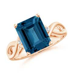 Emerald Cut London Blue Topaz Twist Shank Statement Ring