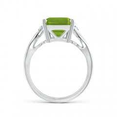 Toggle Twist Shank Emerald Cut Peridot Statement Ring