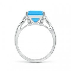 Toggle Twist Shank Emerald Cut Swiss Blue Topaz Statement Ring