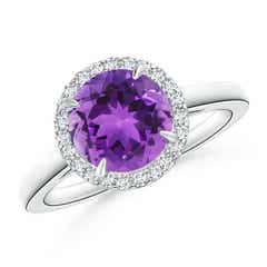 Round Amethyst Cathedral Ring with Diamond Halo
