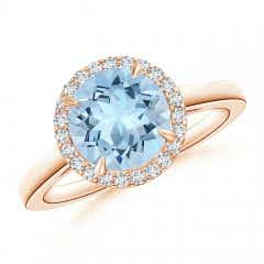 Cathedral Round Aquamarine and Diamond Halo Ring