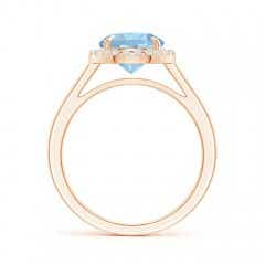 Toggle Round Aquamarine Cathedral Ring with Diamond Halo