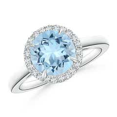 Round Aquamarine Cathedral Ring with Diamond Halo