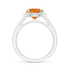 Toggle Round Citrine Cathedral Ring with Diamond Halo