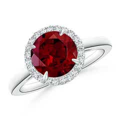 Round Garnet Cathedral Ring with Diamond Halo