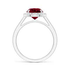 Toggle Round Garnet Cathedral Ring with Diamond Halo