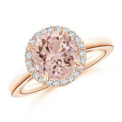Cathedral Round Morganite and Diamond Halo Ring