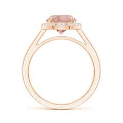 Toggle Round Morganite Cathedral Ring with Diamond Halo