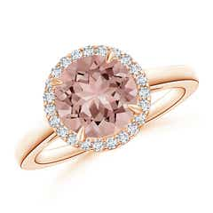 Round Morganite Cathedral Ring with Diamond Halo