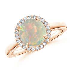 Round Opal Cathedral Ring with Diamond Halo