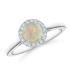 Cathedral Round Opal and Diamond Halo Ring