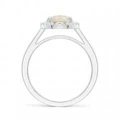 Toggle Round Opal Cathedral Ring with Diamond Halo