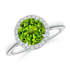 Round Peridot Cathedral Ring with Diamond Halo
