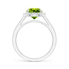 Toggle Round Peridot Cathedral Ring with Diamond Halo