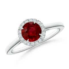 GIA Certified Round Ruby Cathedral Ring with Diamond Halo
