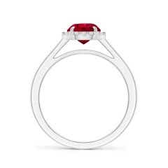 Toggle GIA Certified Round Ruby Cathedral Ring with Diamond Halo