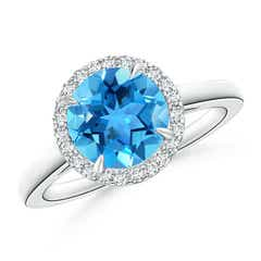 Round Swiss Blue Topaz Cathedral Ring with Diamond Halo