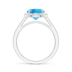Toggle Round Swiss Blue Topaz Cathedral Ring with Diamond Halo