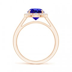 Toggle Round Tanzanite Cathedral Ring with Diamond Halo