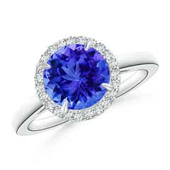 Cathedral Round Tanzanite and Diamond Halo Ring