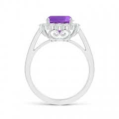 Toggle Cushion Amethyst Cocktail Ring with Diamond Halo