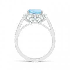 Toggle Cushion Aquamarine Cocktail Ring with Diamond Halo