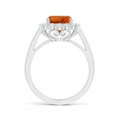 Toggle Cushion Citrine Cocktail Ring with Diamond Halo