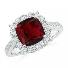 Cushion Garnet Cocktail Ring with Diamond Halo