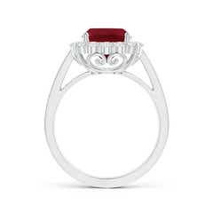 Toggle Cushion Garnet Cocktail Ring with Diamond Halo