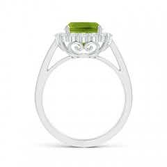 Toggle Cushion Peridot Cocktail Ring with Diamond Halo