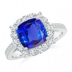 Cushion Tanzanite Cocktail Ring with Diamond Halo