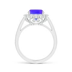 Toggle Cushion Tanzanite Cocktail Ring with Diamond Halo