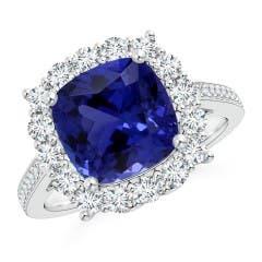 Cushion Tanzanite Halo Ring (GIA Certified Tanzanite)