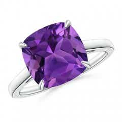 Vintage Inspired Solitaire Cushion Amethyst Cocktail Ring