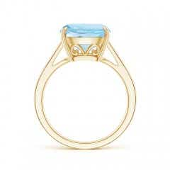 Toggle Vintage Inspired Solitaire Cushion Aquamarine Cocktail Ring