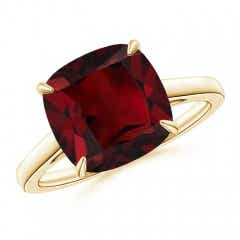 Vintage Inspired Solitaire Cushion Garnet Cocktail Ring