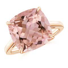 Vintage Inspired Solitaire Cushion Morganite Cocktail Ring